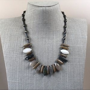 Jewelry - Boho style Agate and hematite stone bead necklace